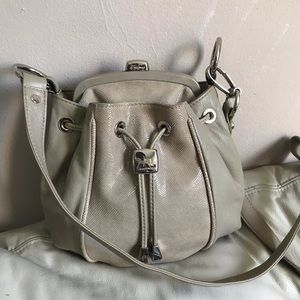 B. Makowsky Gray Leather Crossbody Bag